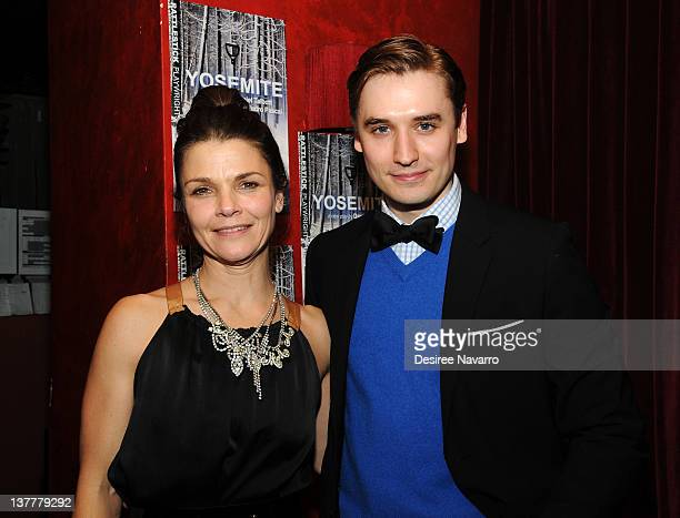 Actors Kathryn Erbe and Seth Numrich attend the 'Yosemite' opening night after party at Dublin 6 on January 26 2012 in New York City