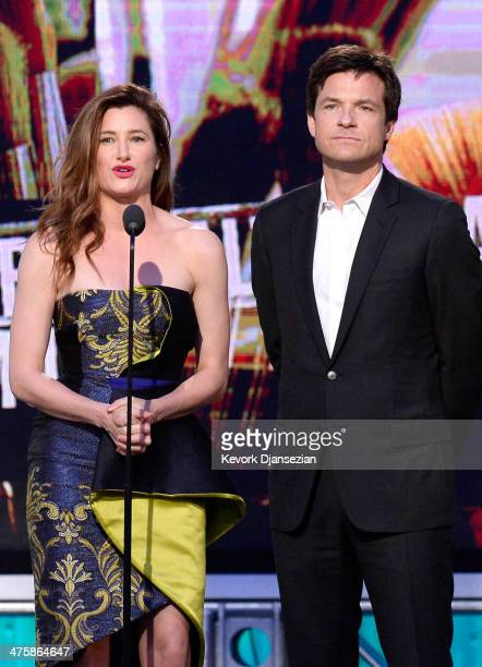 Actors Kathryn Hahn and Jason Bateman speak onstage during the 2014 Film Independent Spirit Awards at Santa Monica Beach on March 1 2014 in Santa...