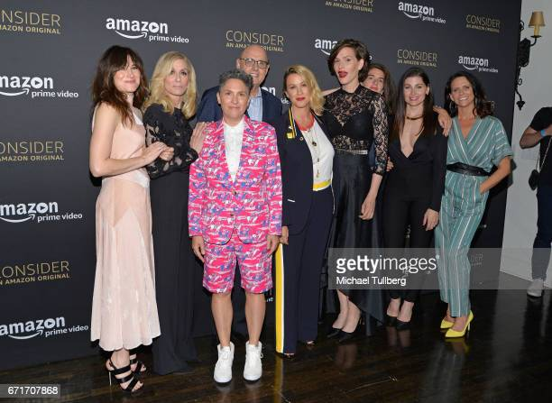 Actors Kathryn Hahn and Judith Light executive producer Jill Soloway actor Jeffrey Tambor singer Alanis Morissette writer Our Lady J and actors Gaby...