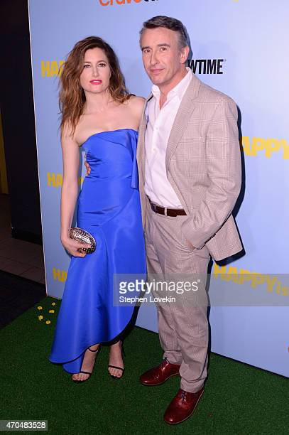 """Actors Kathryn Hahn and Steve Cooganattends the premiere of the SHOWTIME original comedy series """"HAPPYish"""" at The Bowery Hotel on April 20 2015 in..."""