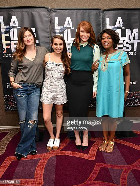 Actors Kathryn Hahn Mae Whitman Bryce Dallas Howard and Alfre Woodard attend Coffee Talks Actors during the 2015 Los Angeles Film Festival at the...