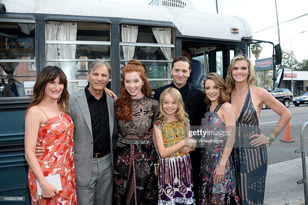 Actors Kathryn Hahn, Viggo Mortensen, Annalise Basso, Shree Crooks, writer/director Matt Ross and actors Samantha Isler and Missi Pyle attend the premiere of Bleecker Street Media's 'Captain Fantastic' at Harmony Gold on June 28, 2016 in Los Angeles, California.