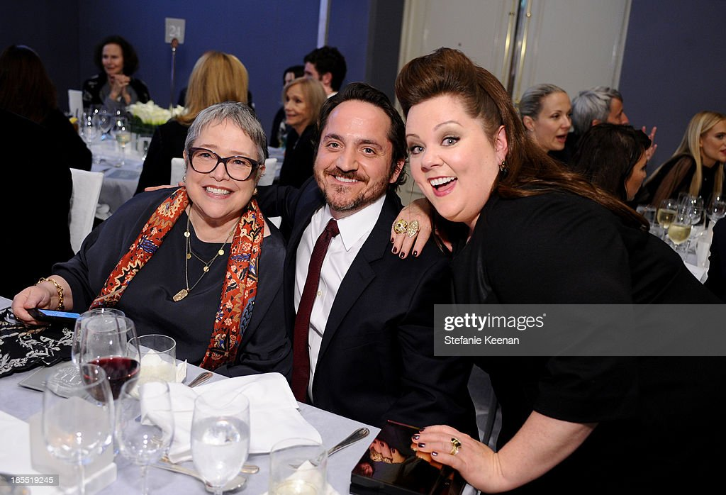 Actors <a gi-track='captionPersonalityLinkClicked' href=/galleries/search?phrase=Kathy+Bates+-+Actor&family=editorial&specificpeople=171565 ng-click='$event.stopPropagation()'>Kathy Bates</a> and <a gi-track='captionPersonalityLinkClicked' href=/galleries/search?phrase=Ben+Falcone&family=editorial&specificpeople=4068633 ng-click='$event.stopPropagation()'>Ben Falcone</a> and honoree <a gi-track='captionPersonalityLinkClicked' href=/galleries/search?phrase=Melissa+McCarthy&family=editorial&specificpeople=880291 ng-click='$event.stopPropagation()'>Melissa McCarthy</a> attend ELLE's 20th Annual Women In Hollywood Celebration at Four Seasons Hotel Los Angeles at Beverly Hills on October 21, 2013 in Beverly Hills, California.