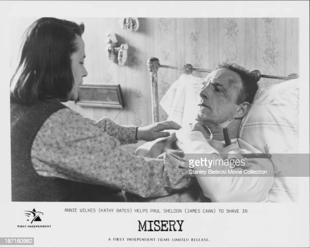 Actors Kathy Bates and James Caan in a scene from the movie 'Misery' 1990