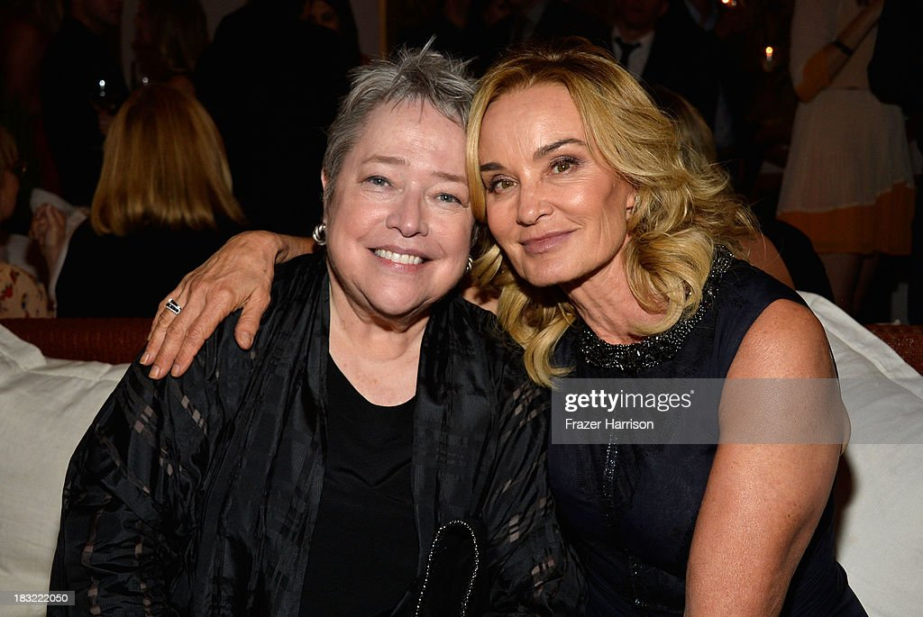 Actors <a gi-track='captionPersonalityLinkClicked' href=/galleries/search?phrase=Kathy+Bates+-+Actor&family=editorial&specificpeople=171565 ng-click='$event.stopPropagation()'>Kathy Bates</a> and Jessica Lange attend the Premiere Of FX's 'American Horror Story: Coven' after party at Fig & Olive Melrose Place on October 5, 2013 in West Hollywood, California.
