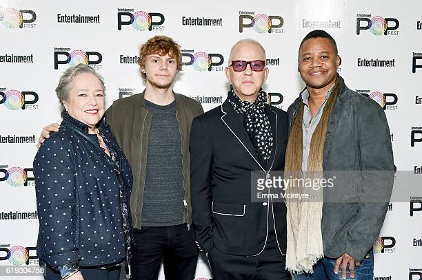 Actors Kathy Bates Evan Peters filmmaker Ryan Murphy and actor Cuba Gooding Jr pose backstage during Entertainment Weekly's PopFest at The Reef on...