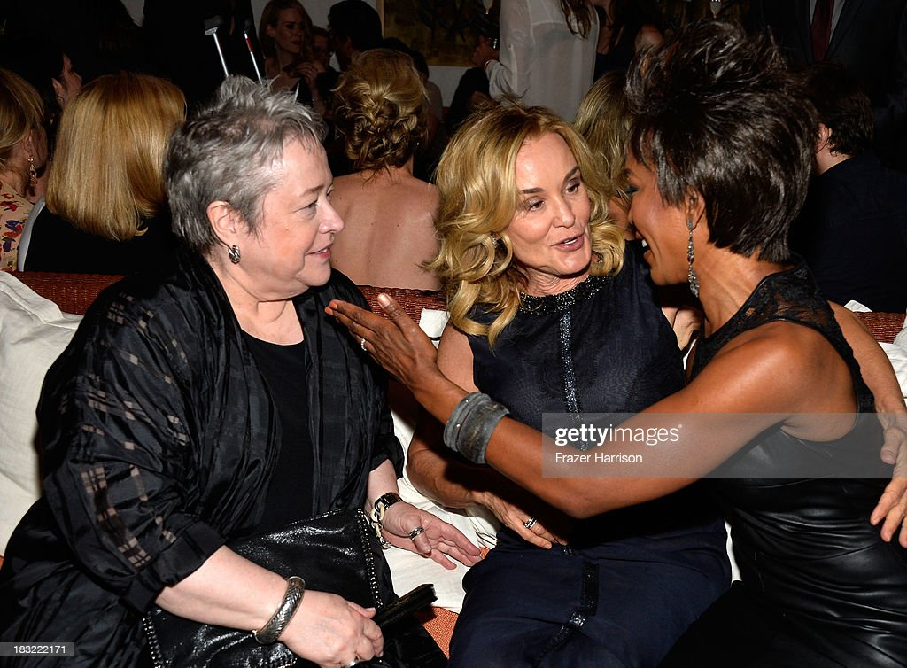 Actors <a gi-track='captionPersonalityLinkClicked' href=/galleries/search?phrase=Kathy+Bates+-+Actor&family=editorial&specificpeople=171565 ng-click='$event.stopPropagation()'>Kathy Bates</a>, Jessica Lange, Angela Bassett attend the Premiere Of FX's 'American Horror Story: Coven' after party at Fig & Olive Melrose Place on October 5, 2013 in West Hollywood, California.
