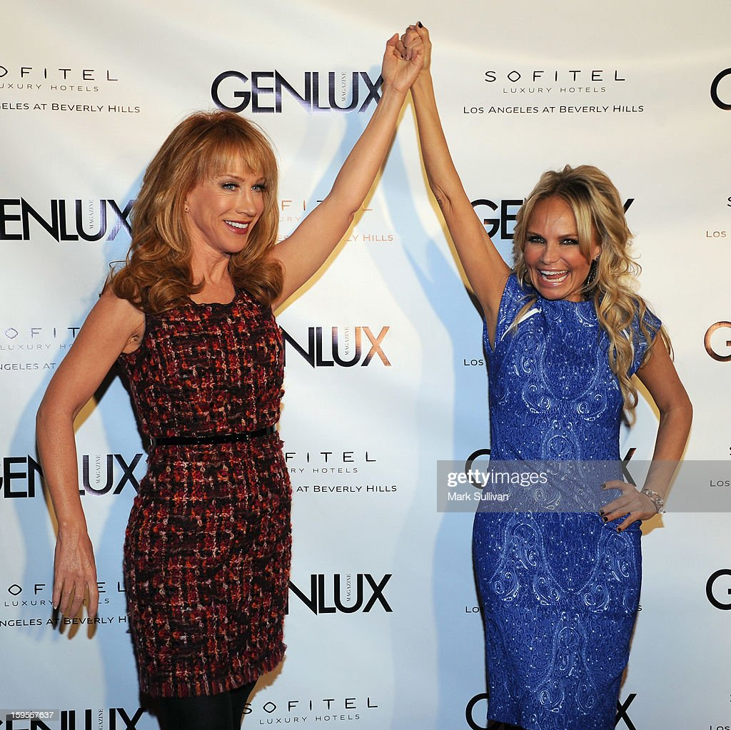 Actors Kathy Griffin and Kristin Chenoweth arrive for the opening of Riviera 31 At Sofitel Los Angeles on January 15, 2013 in Los Angeles, California.