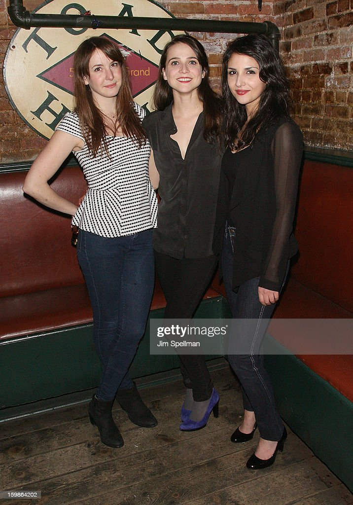 Actors Katie Blake, Maya Kazan and Maryam Hassouni attend the after party for the opening night of 'The Future Is Not What It Was' at Toad Hall on January 21, 2013 in New York City.