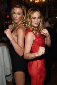 Actors Katie Cassidy and Caity Lotz attend the CW Network's 2015 Upfront party at Park Avenue Spring on May 14 2015 in New York City
