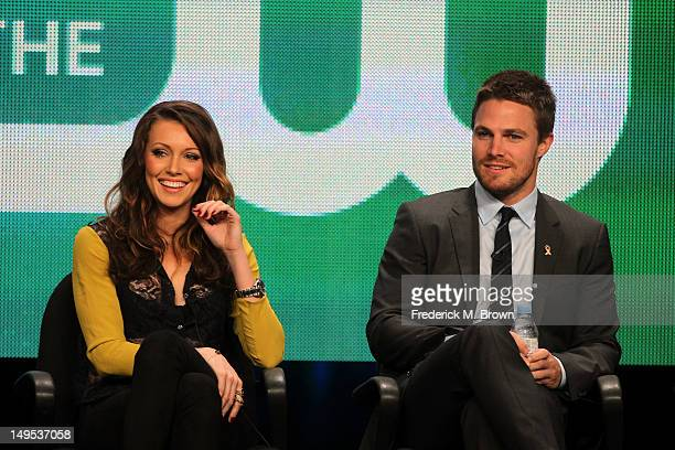 Actors Katie Cassidy and Stephen Amell speaks at the 'Arrow' discussion panel during the CW portion of the 2012 Summer Television Critics Association...