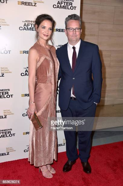Actors Katie Holmes and Matthew Perry at the premiere of Reelz's 'The Kennedys After Camelot' at The Paley Center for Media on March 15 2017 in...