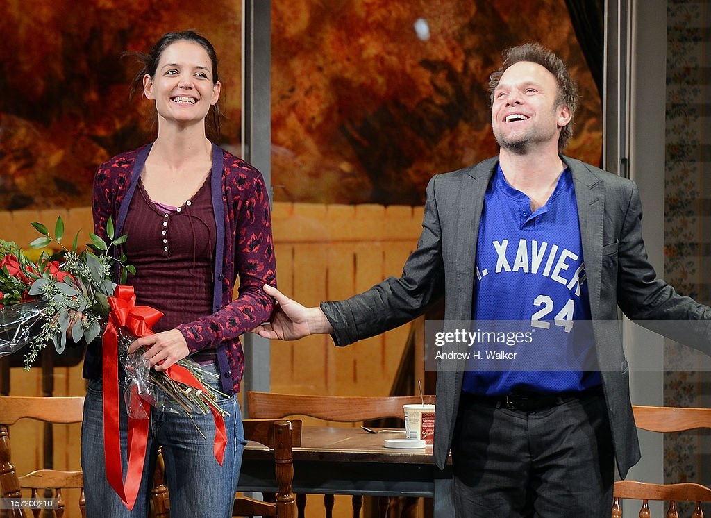 Actors Katie Holmes and Norbert Leo Butz take their curtain call during the 'Dead Accounts' Broadway opening night at the Music Box Theatre on November 29, 2012 in New York City.