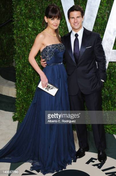 Actors Katie Holmes and Tom Cruise arrive at the 2012 Vanity Fair Oscar Party hosted by Graydon Carter at Sunset Tower on February 26 2012 in West...