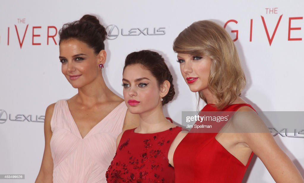 Actors <a gi-track='captionPersonalityLinkClicked' href=/galleries/search?phrase=Katie+Holmes&family=editorial&specificpeople=201598 ng-click='$event.stopPropagation()'>Katie Holmes</a>, <a gi-track='captionPersonalityLinkClicked' href=/galleries/search?phrase=Odeya+Rush&family=editorial&specificpeople=9620554 ng-click='$event.stopPropagation()'>Odeya Rush</a>and and singer/actress <a gi-track='captionPersonalityLinkClicked' href=/galleries/search?phrase=Taylor+Swift&family=editorial&specificpeople=619504 ng-click='$event.stopPropagation()'>Taylor Swift</a> attend 'The Giver' premiere at Ziegfeld Theater on August 11, 2014 in New York City.