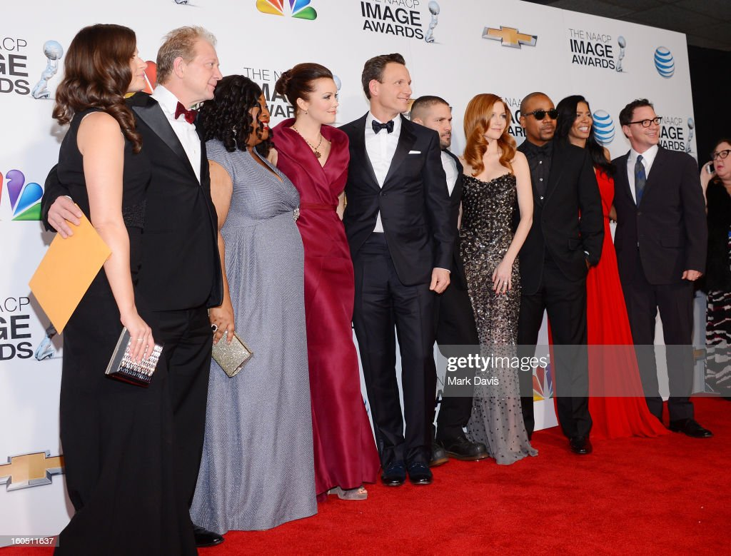Actors Katie Lowes, Jeff Perry, Shonda Rhimes, Bellamy Young, Tony Goldwyn, Guillermo Diaz, Darby Stanchfield, Columbus Short, Judy Smith and Joshua Malina attend the 44th NAACP Image Awards at The Shrine Auditorium on February 1, 2013 in Los Angeles, California.