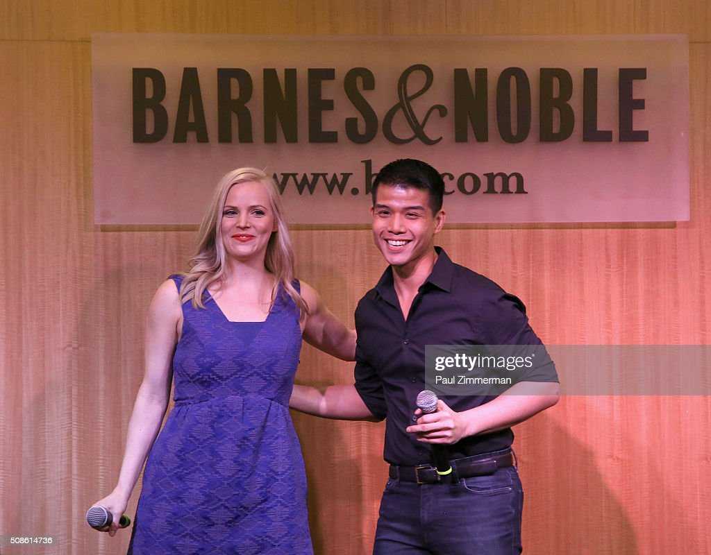 Actors Katie Rose Clarke (L) and <a gi-track='captionPersonalityLinkClicked' href=/galleries/search?phrase=Telly+Leung&family=editorial&specificpeople=706226 ng-click='$event.stopPropagation()'>Telly Leung</a> promote the original Broadway cast recording of 'Allegiance' at Barnes & Noble, 86th & Lexington on February 5, 2016 in New York City.