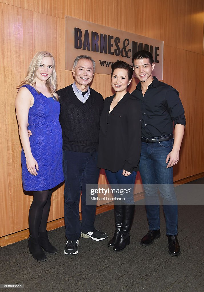 Actors Katie Rose Clarke, <a gi-track='captionPersonalityLinkClicked' href=/galleries/search?phrase=George+Takei&family=editorial&specificpeople=1534988 ng-click='$event.stopPropagation()'>George Takei</a>, <a gi-track='captionPersonalityLinkClicked' href=/galleries/search?phrase=Lea+Salonga&family=editorial&specificpeople=2179610 ng-click='$event.stopPropagation()'>Lea Salonga</a> and <a gi-track='captionPersonalityLinkClicked' href=/galleries/search?phrase=Telly+Leung&family=editorial&specificpeople=706226 ng-click='$event.stopPropagation()'>Telly Leung</a> promote the original Broadway cast recording of 'Allegiance' at Barnes & Noble, 86th & Lexington on February 5, 2016 in New York City.