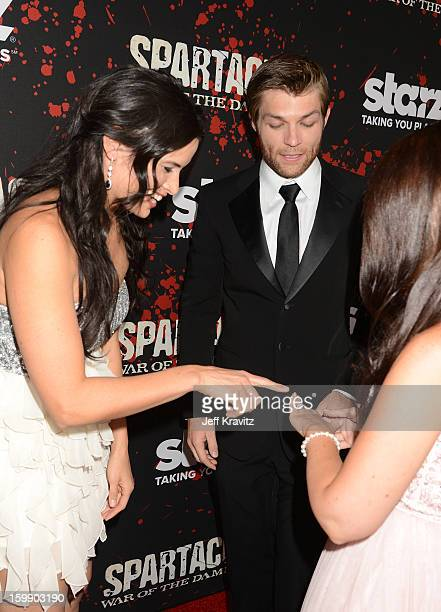 Actors Katrina Law Liam McIntyre and Erin Hasan attend the 'Spartacus War Of The Damned' premiere at Regal Cinemas LA LIVE Stadium 14 on January 22...