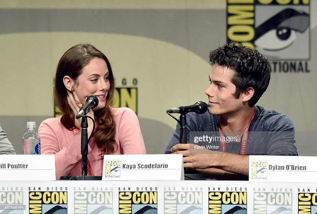 Actors Kaya Scodelario (L) and Dylan O'Brien attend the 20th Century Fox presentation during Comic-Con International 2014 at San Diego Convention Center on July 25, 2014 in San Diego, California.