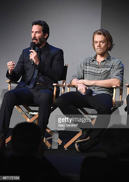 Actors Keanu Reeves and Alfie Allen attend Apple Store Soho Presents Meet The Actors Keanu Reeves Alfie Allen Chad Stahelski David Leitch And Basil...