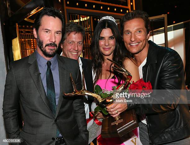Actors Keanu Reeves Hugh Grant Sandra Bullock and Matthew McConaughey attends Spike TV's 'Guys Choice 2014' at Sony Pictures Studios on June 7 2014...