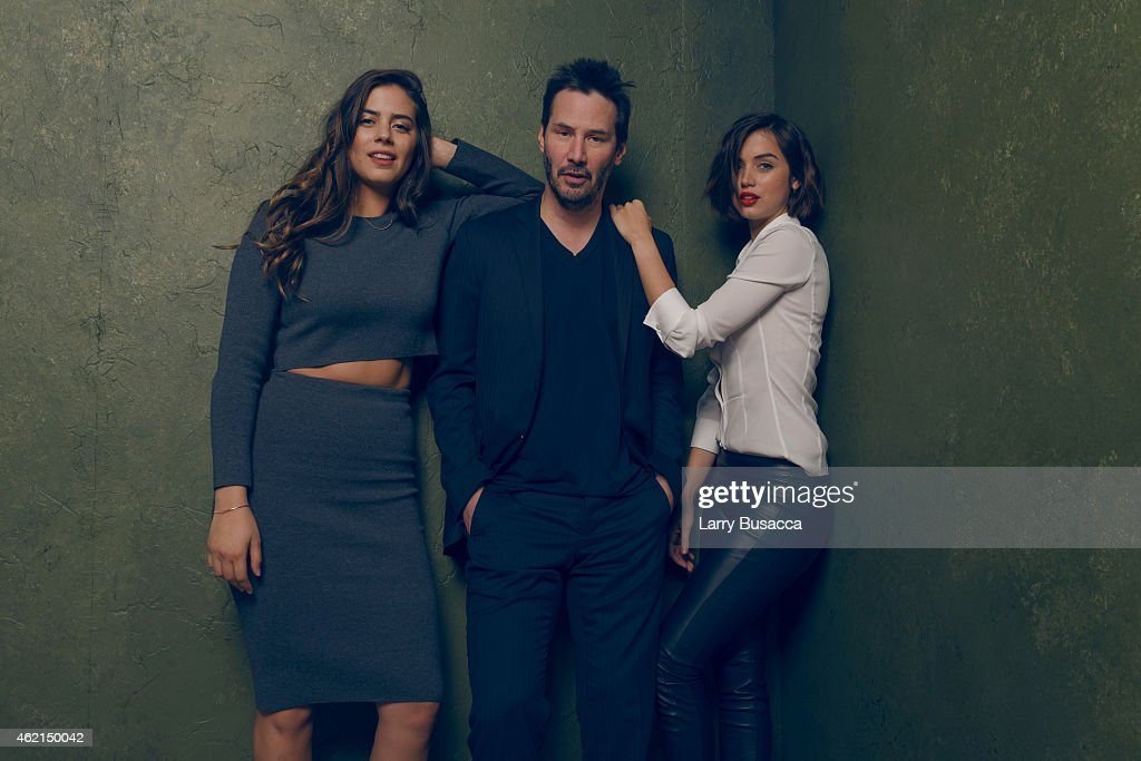 Actors Keanu Reeves, Lorenza Izzo and Ana de Armas from 'Knock Knock' pose for a portrait at the Village at the Lift Presented by McDonald's McCafe during the 2015 Sundance Film Festival on January 24, 2015 in Park City, Utah.
