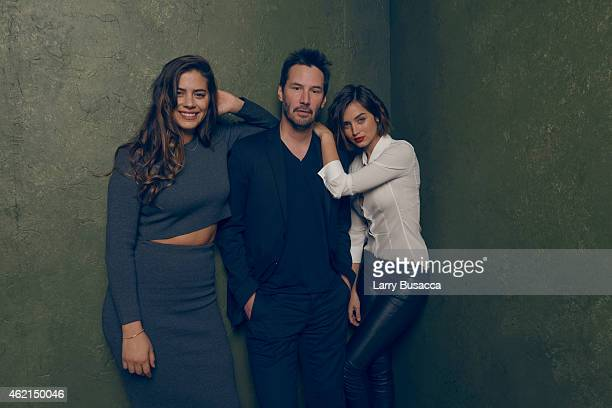 Actors Keanu Reeves Lorenza Izzo and Ana de Armas from 'Knock Knock' pose for a portrait at the Village at the Lift Presented by McDonald's McCafe...