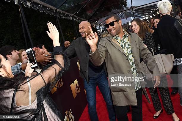 Actors KeeganMichael Key and Jordan Peele attend the 2016 MTV Movie Awards at Warner Bros Studios on April 9 2016 in Burbank California MTV Movie...