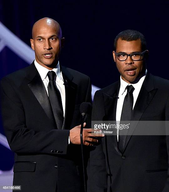 Actors KeeganMichael Key and Jordan Peele speak onstage at the 66th Annual Primetime Emmy Awards held at Nokia Theatre LA Live on August 25 2014 in...