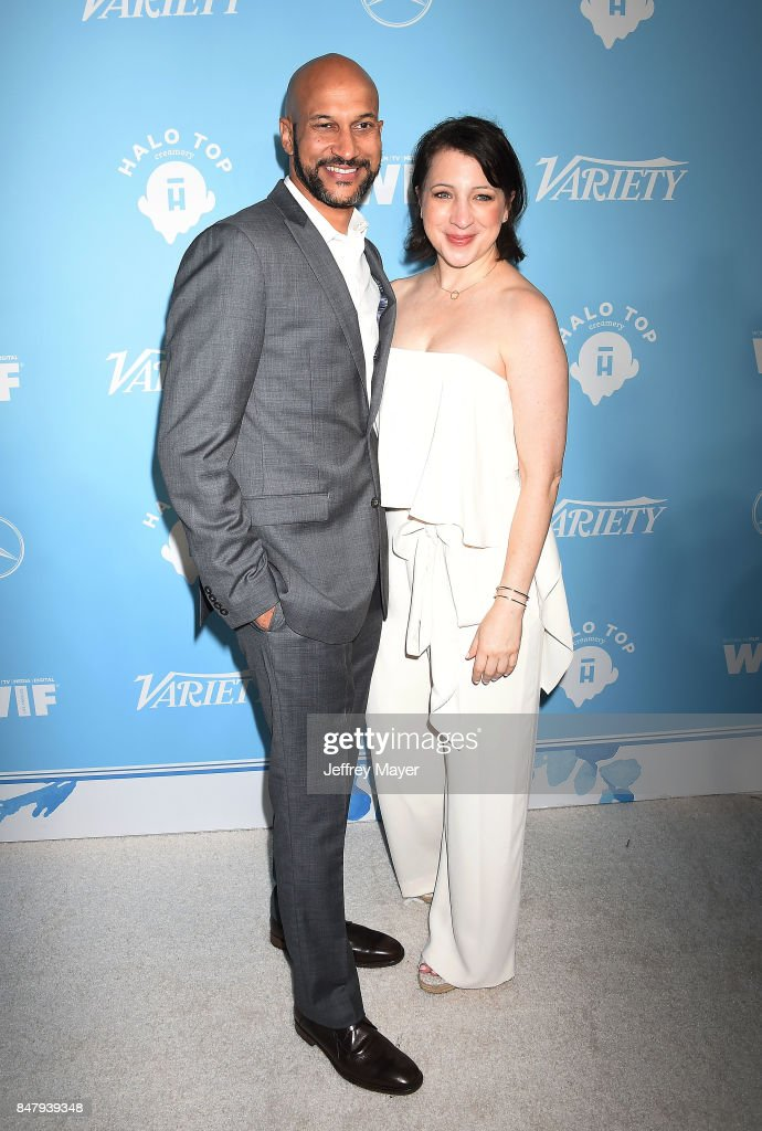 Actors Keegan-Michael Key; Elisa Pugliese arrives at the Variety And Women In Film's 2017 Pre-Emmy Celebration at Gracias Madre on September 15, 2017 in West Hollywood, California.