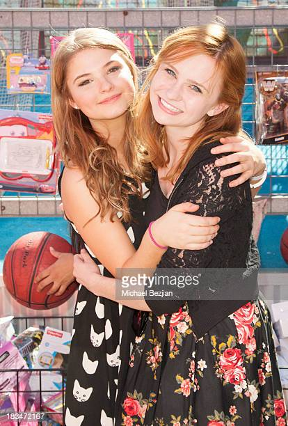 Actors Keely Marshall and Stefanie Scott volunteer at the 14th Annual 'Mattel Party On The Pier' Benefiting Mattel Children's Hospital UCLA at Santa...