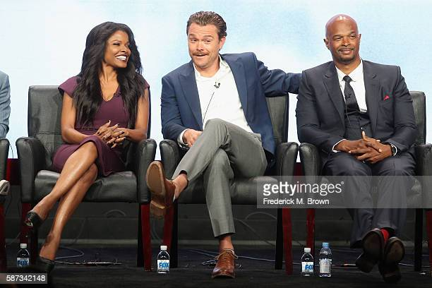 Actors Keesha Sharp Clayne Crawford and Damon Wayons speak onstage at the 'Lethal Weapon' panel discussion during the FOX portion of the 2016...