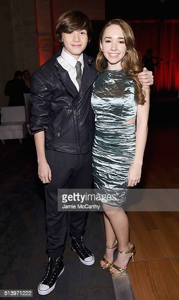 Actors Keidrich Sellati and Holly Taylor attend the 'The Americans' season 4 premiere on March 5 2016 in New York City