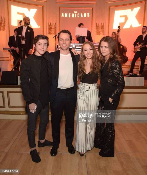 Actors Keidrich Sellati Matthew Rhys Holly Taylor and Keri Russell attend the after party for 'The Americans' Season 5 Premiere at The Plaza Hotel on...