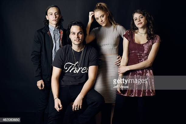Actors Keir Gilchrist Daniel Zovatto Maika Monroe and Olivia Luccardi from 'It Follows' pose for a portrait at the Village at the Lift Presented by...