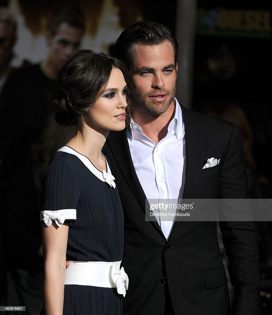 Actors <a gi-track='captionPersonalityLinkClicked' href=/galleries/search?phrase=Keira+Knightley&family=editorial&specificpeople=202053 ng-click='$event.stopPropagation()'>Keira Knightley</a> and <a gi-track='captionPersonalityLinkClicked' href=/galleries/search?phrase=Chris+Pine&family=editorial&specificpeople=641995 ng-click='$event.stopPropagation()'>Chris Pine</a> attend the premiere of Paramount Pictures' 'Jack Ryan: Shadow Recruit' at TCL Chinese Theatre on January 15, 2014 in Hollywood, California.