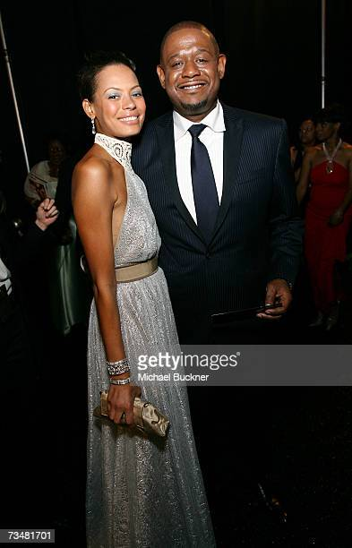 Actors Keisha Whitaker and Forest Whitaker pose backstage during the 38th annual NAACP Image Awards held at the Shrine Auditorium on March 2 2007 in...