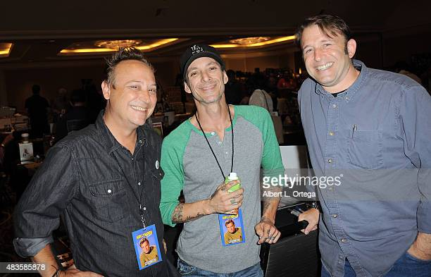Actors Keith Coogan Noah Hathaway and Ilan Mitchell Smith on day 2 of The Hollywood Show held at The Westin Hotel LAX on August 2 2015 in Los Angeles...