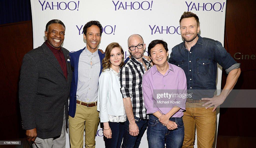Actors Keith David, Danny Pudi, Gillian Jacobs, Jim Rash, Ken Jeong, and Joel McHale attend the LA Times Envelope Emmy event for 'Community' on Yahoo Screen at ArcLight Sherman Oaks on June 2, 2015 in Sherman Oaks, California.