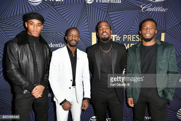 Actors Keith Powers Elijah Kelley Luke James and Woody McClain attend BET Presents the American Black Film Festival Honors on February 17 2017 in...
