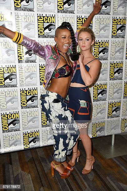 Actors Keke Palmer and Billie Lourd attend the 'Scream Queens' press line during ComicCon International at Hilton Bayfront on July 22 2016 in San...