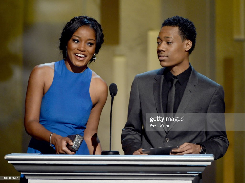 Actors Keke Palmer (L) and Tyler James Williams speak onstage during the 44th NAACP Image Awards at The Shrine Auditorium on February 1, 2013 in Los Angeles, California.