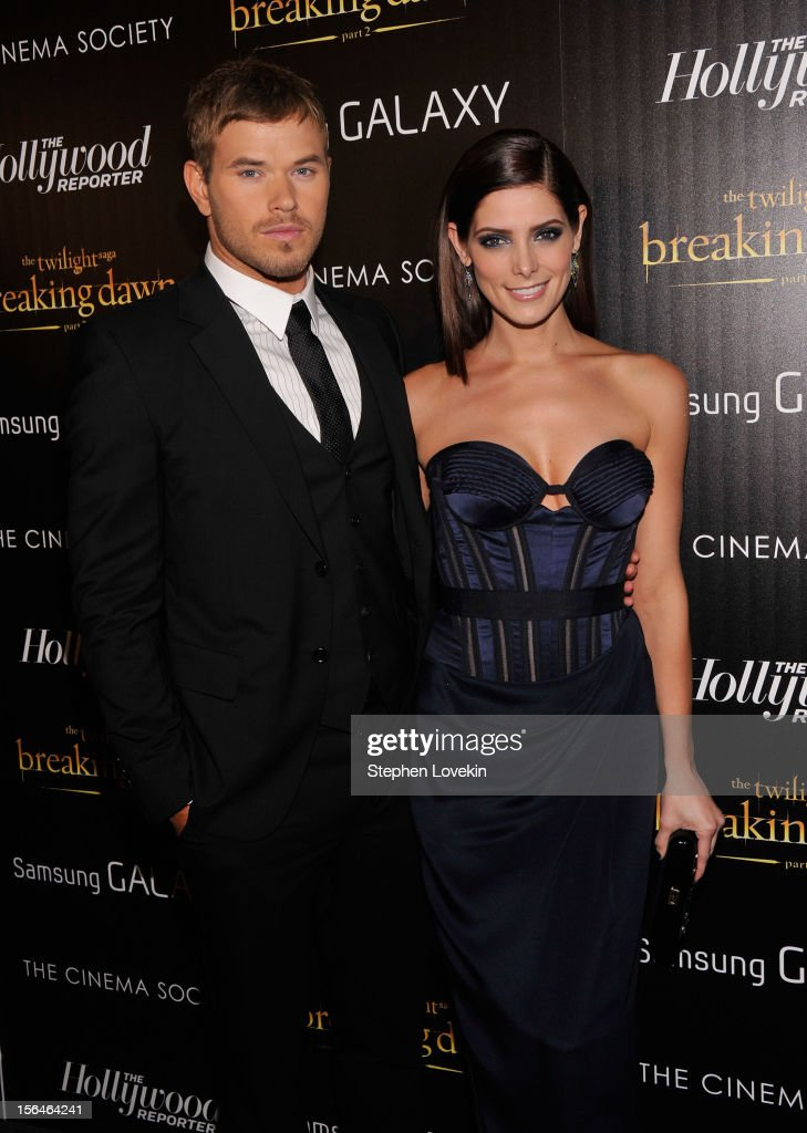 Actors Kellan Lutz (L) and Ashley Greene attend The Cinema Society with The Hollywood Reporter & Samsung Galaxy screening of 'The Twilight Saga: Breaking Dawn Part 2' on November 15, 2012 in New York City.
