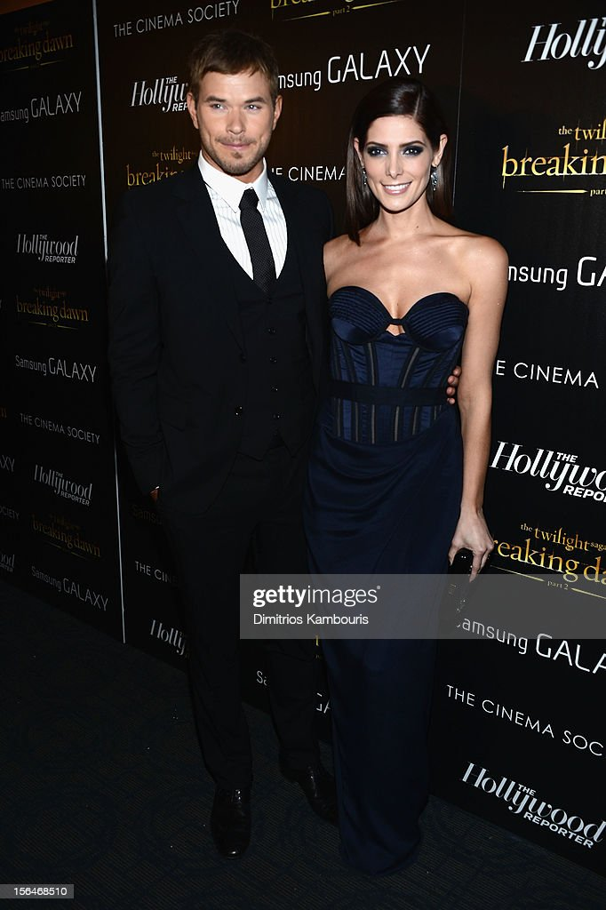 Actors <a gi-track='captionPersonalityLinkClicked' href=/galleries/search?phrase=Kellan+Lutz&family=editorial&specificpeople=683287 ng-click='$event.stopPropagation()'>Kellan Lutz</a> (L) and <a gi-track='captionPersonalityLinkClicked' href=/galleries/search?phrase=Ashley+Greene&family=editorial&specificpeople=781552 ng-click='$event.stopPropagation()'>Ashley Greene</a> attend The Cinema Society with The Hollywood Reporter & Samsung Galaxy screening of 'The Twilight Saga: Breaking Dawn Part 2' on November 15, 2012 in New York City.