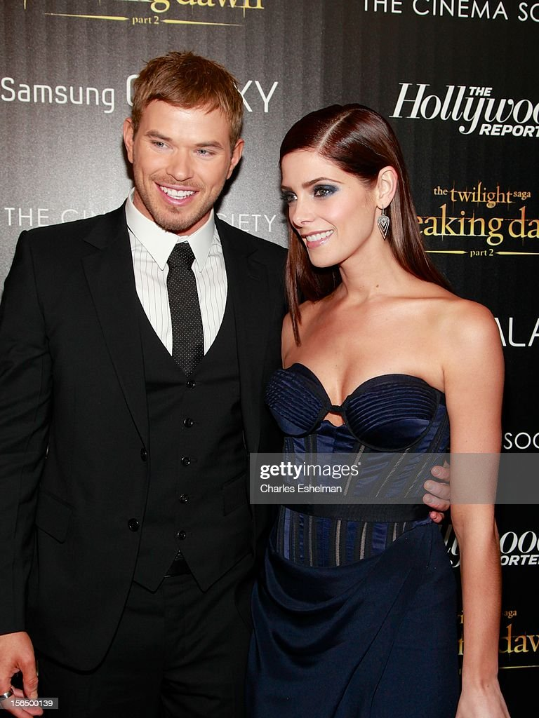Actors Kellan Lutz and Ashley Greene attend the Cinema Society with The Hollywood Reporter and Samsung Galaxy screening of 'The Twilight Saga: Breaking Dawn Part 2' at the Landmark Sunshine Cinema on November 15, 2012 in New York City.
