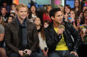 Actors Kellan Lutz and Bronson Pelletier visit MuchOnDemand to promote their new movie 'The Twilight Saga New Moon' at the MuchMusic HQ on November...