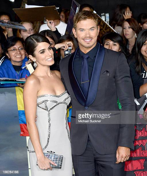 Actors Kellan Lutz and Nikki Reed arrive at the premiere of Summit Entertainment's 'The Twilight Saga Breaking Dawn Part 2' at Nokia Theatre LA Live...