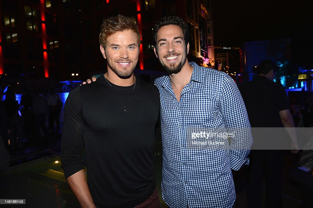 Actors <a gi-track='captionPersonalityLinkClicked' href=/galleries/search?phrase=Kellan+Lutz&family=editorial&specificpeople=683287 ng-click='$event.stopPropagation()'>Kellan Lutz</a> and <a gi-track='captionPersonalityLinkClicked' href=/galleries/search?phrase=Zachary+Levi&family=editorial&specificpeople=242766 ng-click='$event.stopPropagation()'>Zachary Levi</a> attend 'The Twilight Saga: Breaking Dawn Part 2' VIP Comic-Con Celebration Sponsored by Fandango at Float in the Hard Rock Hotel on July 11, 2012 in San Diego, California.