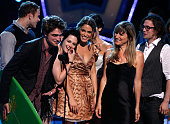 Actors Kellan Lutz Robert Pattinson Kristen Stewart Nikki Reed Catherine Hardwicke Ashley Greene and Jackson Rathbone accept the Twilight Award...